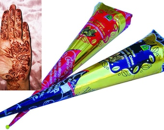 2 Henna Cones deal Ready Mixed Henna Tattoo Natural Pre Mixed Paste Hand Rolled Cone