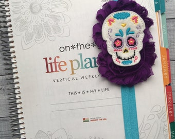 Sugar Skull Planner Band: Purple and Teal, Elastic, Notebook and Planner Closure, Perfect for EC, Mambi, Kikki K, Filofax, & more!