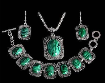 Silver Emerald Jewelry set