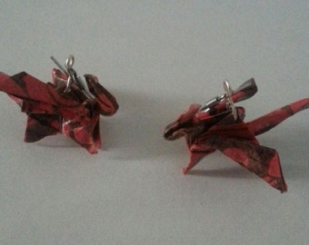 Origami Red Dragon hook earrings