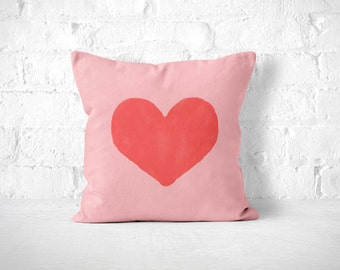 Pink Heart Pillow, Kids Room Pillow, Kids Room Decor, Nursery Throw Pillow, Cute Throw Pillow, Pink and Red, Dorm Room Pillow, Pink Toss