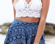 White Boho Crochet Crop Top with neck and back tie