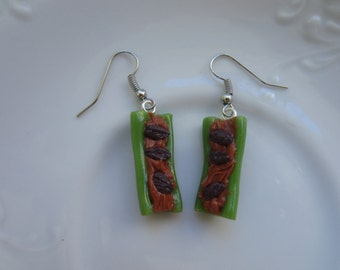 Ants on a Log Earrings, Miniature Celery Sticks, Celery Earrings, Peanut Butter, Miniature Food Jewelry, Polymer Clay Miniature Food