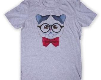 Cute Nerd Cat Tee Nerdy Geek Hipster Kitten Cute Animal Lover Graphic T-shirt