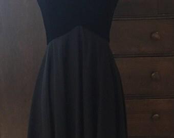 1960's Miss Elliette Velvet and Chiffon Little Black Dress