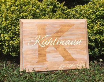 Personalized Wood Family Name Plaque Sign great for weddings or housewarming gifts