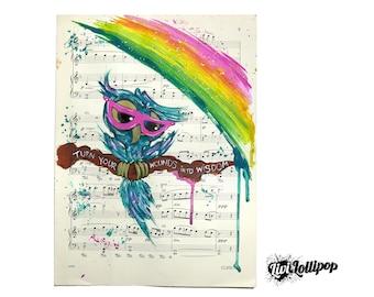 Owl painting rainbow painting sheet music art-UNFRAMED shabby chic decor, gifts for girls, owl gifts rainbow art owl art owl illustration