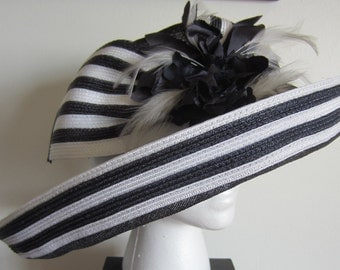 Handmade Navy Blue/White Stripe Feathered Bow Hat