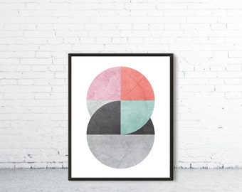 Colourful Wall Art, Wall Art Prints, Circle Poster, Abstract Art, Art Prints, Modern Prints, Printable Art, Geometric Art, Digital Print
