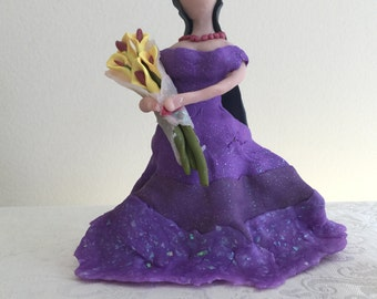 Clay Figure - Purple dressed lady with yellow lilies