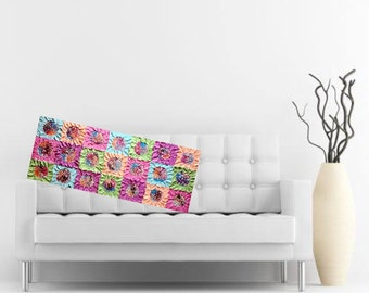 Original flower art textured patchwork painting neon 40x16