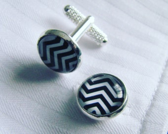 Chevron Black & White Cufflinks