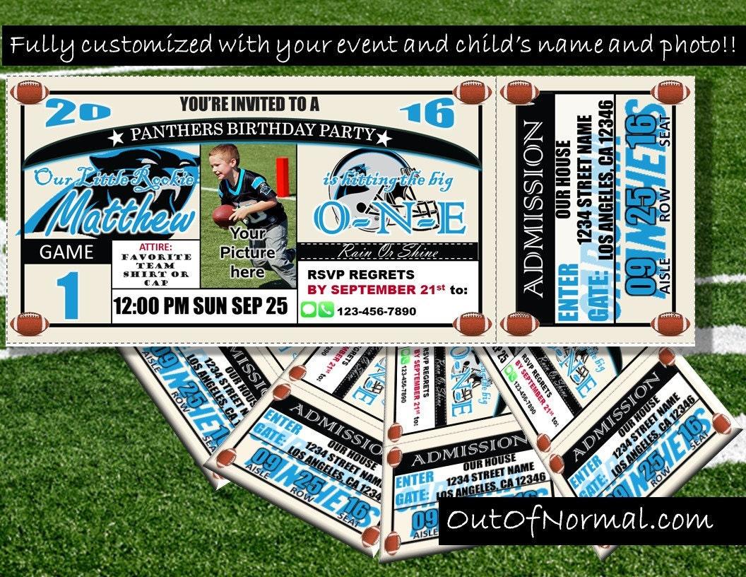 SALE Carolina Panthers Themed Birthday Invitation Tickets