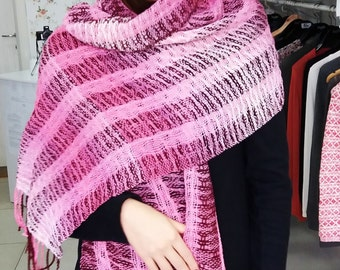 Large pink handwoven shawl, Fall winter women accessories, Pink handwoven shawl