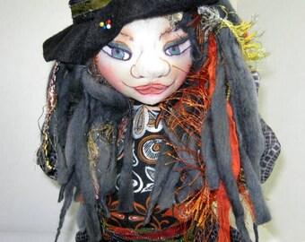Halloween Bust Art Doll, Fairy Witch Fantasy Holiday Decor Soft Sculpture, Samhein OOAK Doll Bust,  JDCreativeDolls