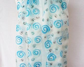 Silk Scarf,handpainted Silk Scarf  , Hand painted silk scarf,  silk Scarf, blue  silk scarf ,Gift for her  silkscarvesparis