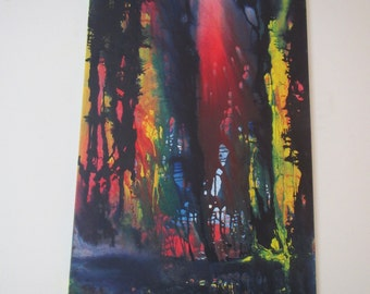 FOREST light - pigments in Aquarelltechnick - acrylic painting on canvas 150 x 100 cm