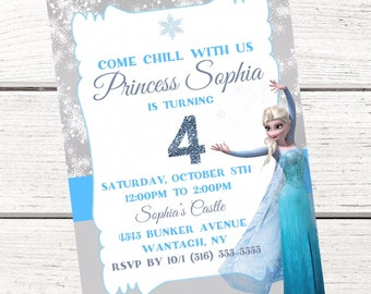 Frozen Elsa Invitation, Free Thank You Card File, Queen Elsa Invitation, Frozen Invitation, Frozen Birthday, Elsa Birthday, Digital
