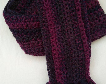 Beautifully coloured hand crocheted scarf