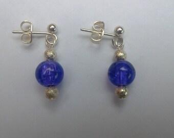 Drop Earrings in Purple & Silver