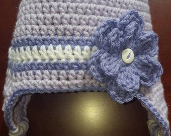 Purple Crochet Hat with Flower size 6-12 months