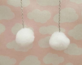 Kawaii Small White Pom Pom Earrings