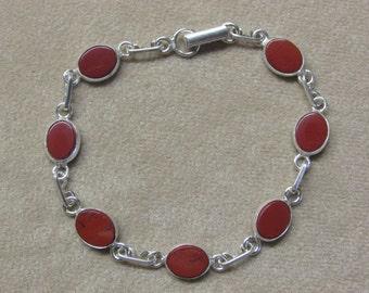 Jasper STERLING silver 7-stone bracelet.