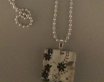 SALE - Black Flower Glass Tile Necklace
