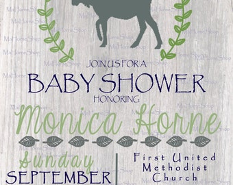 Rustic Moose Woodland Baby Shower Invitation