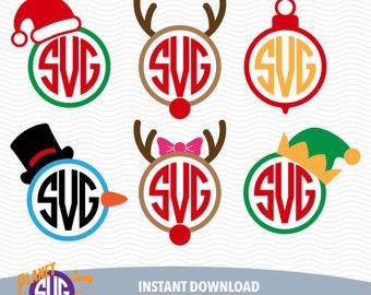 CHRISTMAS MONOGRAM SVG files, Silhouette Studio Files, CriCut Files, Screen printing 13-P