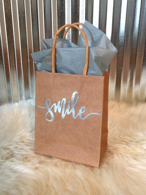 Smile Gift Bag   4 1/2 X 5 1/2 Paper Kraft Bag   Handlettered Embossing   Favors   Gifts   Custom   Weddings   Showers