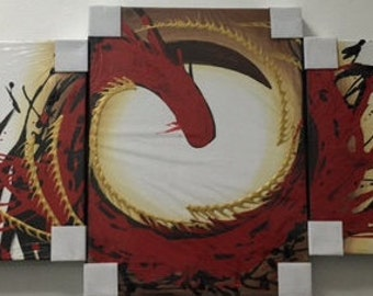 Abstract Red Dragon/ Serpent/ Snake Acrylic Paintings