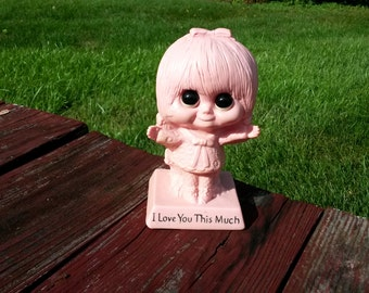 "Vintage ""I Love You This Much"" Figurine from the 70s, pink girl figurine, W & R Berries Co. little girl figurine"