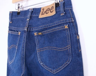 perfect vintage 70s LEE JEANS boot cut dark wash jeans 70s clothing SZ 28 flare jeans