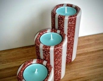 Trio of Handmade Grey and Terracotta Speckled Corian Candle Holders