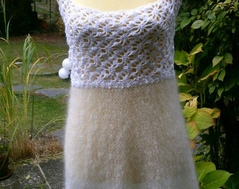 Crochet knit tunic, white, GR 36-38 (S-M).