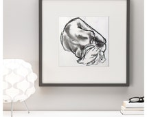 Original Life Drawing in Charcoal, Woman curled up, arty gift, lovely modern natural studies. Greys, Black and White decor.