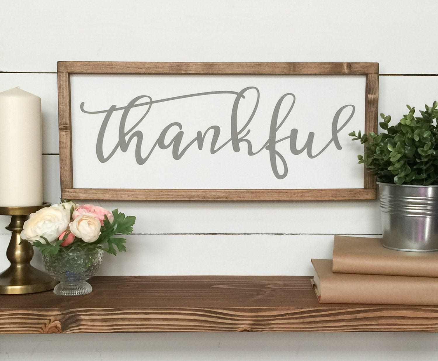 Thankful wooden sign farmhouse decor farmhouse sign wood for Sign decoration