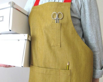 Cross Back, Ochre Denim Apron, Red Adjustable Ties. For Artists and Makers. No7