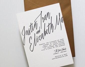 Minimalist Letterpress Wedding Invitation Suite (Invite + RSVP)