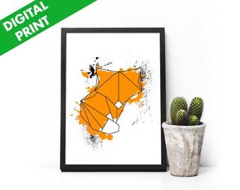 Geometric Ink Splattered Fox Print » Digital Print