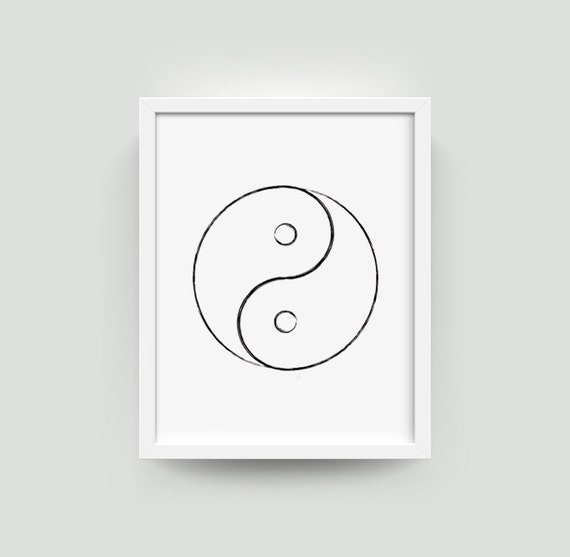 Items similar to yin yang art print yin yang wall art yin for Decoration murale yin yang