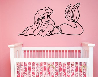Little Mermaid Wall Decal Princess Ariel Vinyl Sticker Disney Art Decorations for Home Girl Baby Room Bedroom Bathroom Cartoon Decor lmer3
