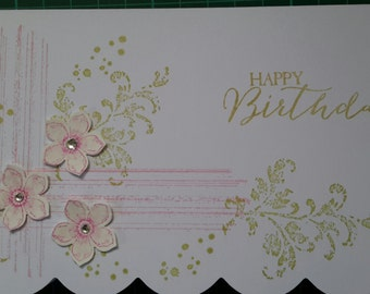 trio flower birthday card