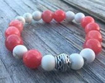 White & Coral Stretch Beaded Bracelet With Silver Accent