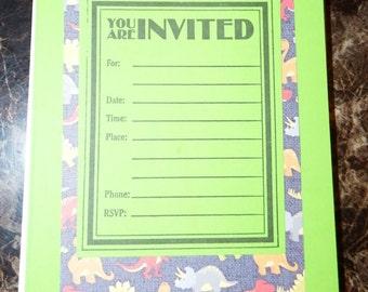 Birthday Invitations - green DINOSAUR ( pack of 12)