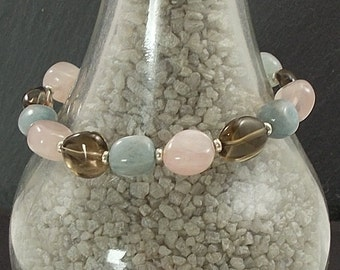 Free UK P&P Silver Plated Aquamarine, Rose Quartz and Smokey Quartz Bracelet