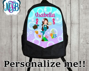 Personalized Backpack little mermaid/monogrammed backpack/school backpack/Backpack Monogram/gift for boys/gift for girls/B6