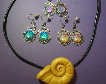 Ursula necklace and earrings, beautiful ursula jewelry for ursula costume, sea witch necklace, ariel's voice seashell!