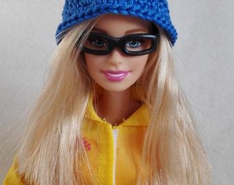 Blue Barbie doll cloche hat